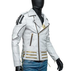 Mens Slim Fit White Leather Jacket