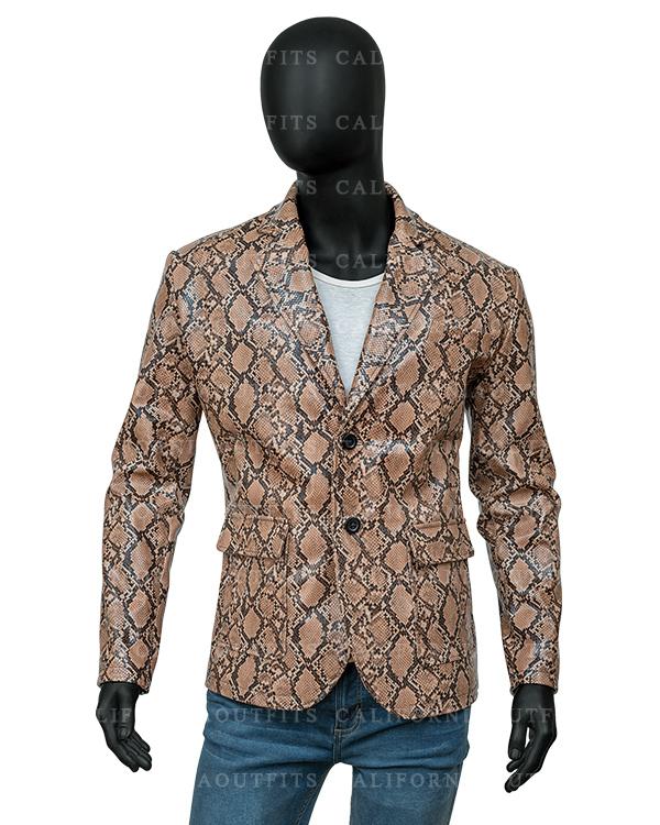 Mens Snake Print Leather Jacket