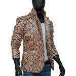 Mens Snakeprint Leather Jacket