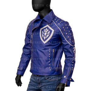 Mens Studded Blue Leather Jacket