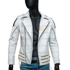 Mens White Leather Jacket