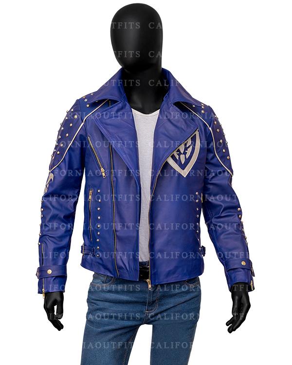 Studded Blue Leather Jacket