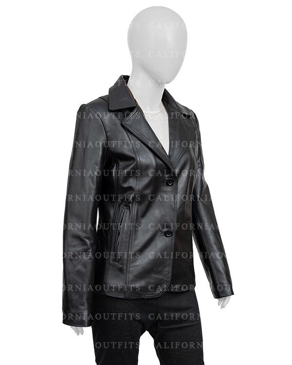 Womens-Black-Leather-Blazer-