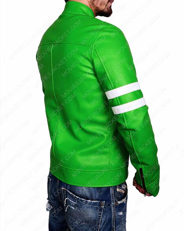 alien swarm ben 10 green biker leather jacket