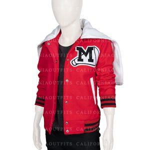 glee cheerios cheerleading red bomber jacket