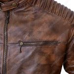 vintage cafe racer brown leather jacket