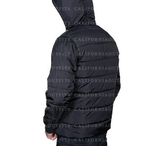 black puffer parachute jacket for