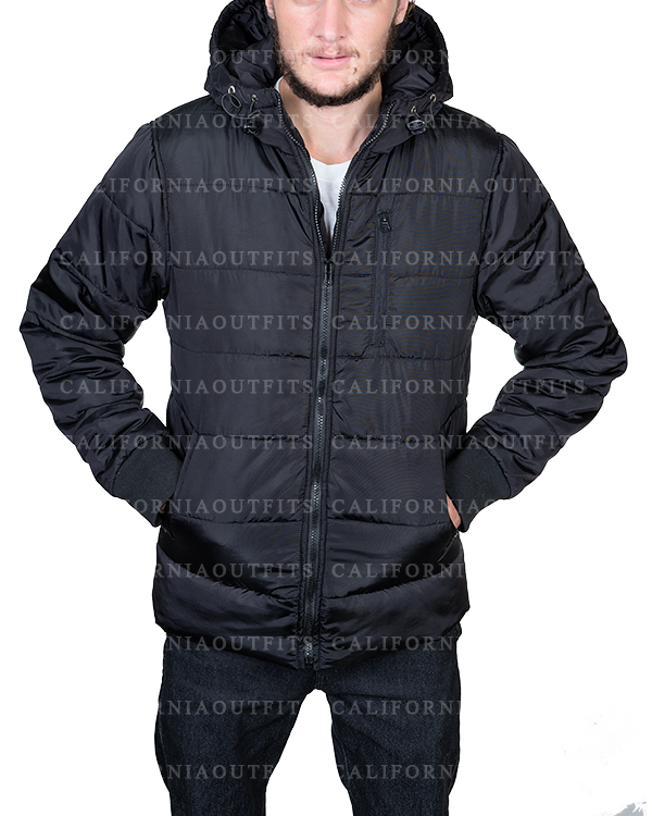 black puffer parachute jacket