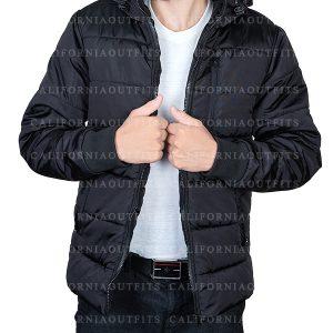mens black puffer parachute jacket