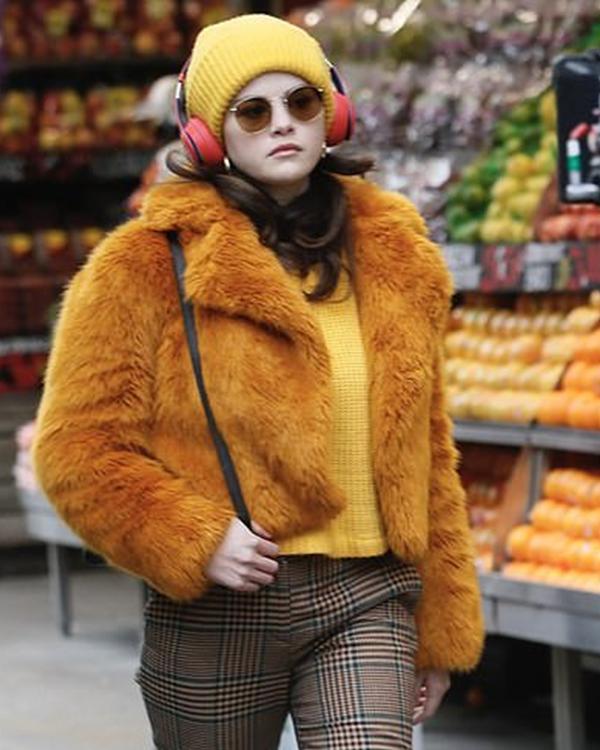 only murders in the building selena gomezas orange fur jacket