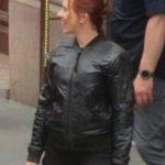 scarlett johansson black widow 2021 black bomber leather jacket