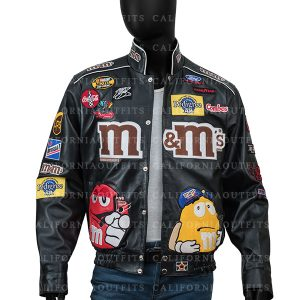 m&ms black bomber jacket
