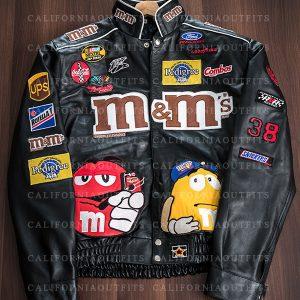 m&ms black leather bomber jacket