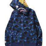 bape camo shark blue zipper hoodie