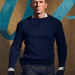 daniel craig no time to die james bond blue woolen sweater