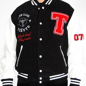 men's club life tiesto black and white varsity jacket