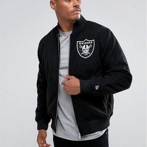 oakland raiders black bomber jacket