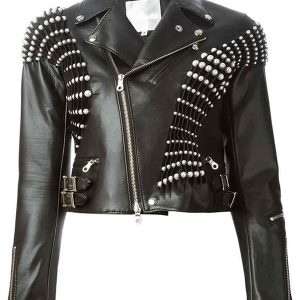 real housewives of beverly hills erika jayne pearl pleated black leather jacket