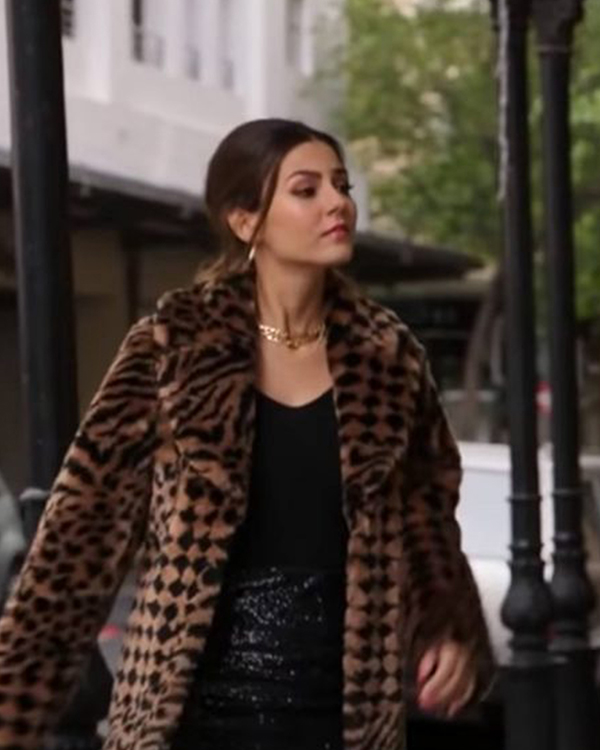 victoria justice afterlife of the party 2021 cassie leopard print coat