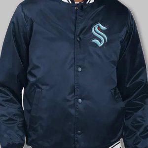 men's seattle kraken starter blue bomber jacket