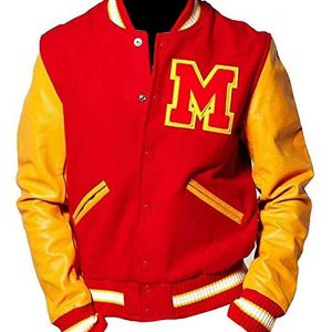 michael jackson m logo leather sleeves thriller varsity jacket