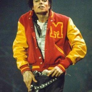 michael jackson m logo thriller varsity jacket