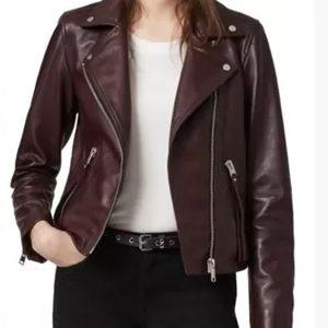 nancy george leah lewis brown leather jacket